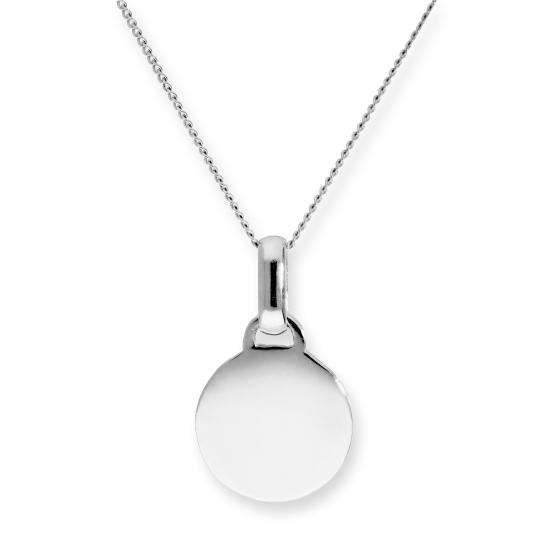 9ct White Gold Engravable Round Pendant Necklace 16 - 20 Inches