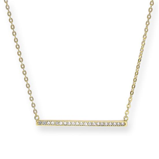 9ct Gold & Clear CZ Crystal Bar on 18 Inches Chain
