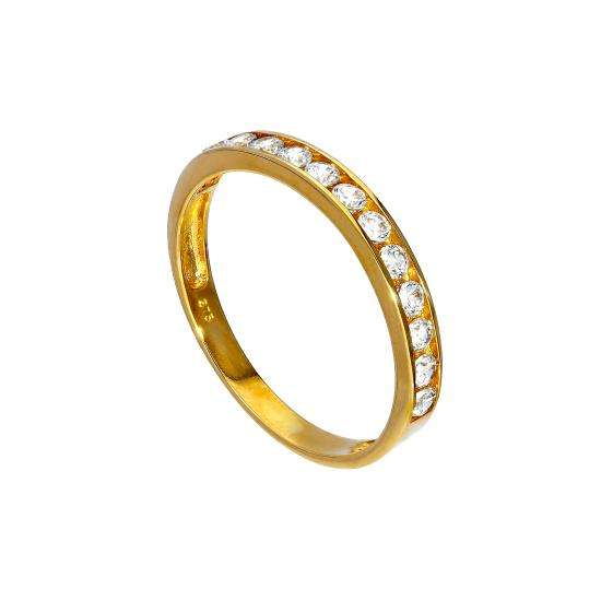 9ct Gold & Clear CZ Crystal Half Eternity Stacking Ring Size I-U