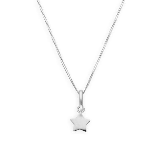9ct White Gold Star Pendant Necklace 16 - 20 Inches