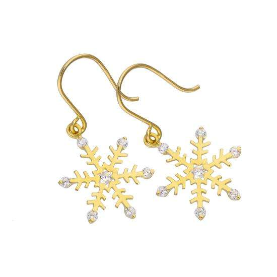 9ct Gold & Clear CZ Crystal Snowflake Fish Hook Earrings