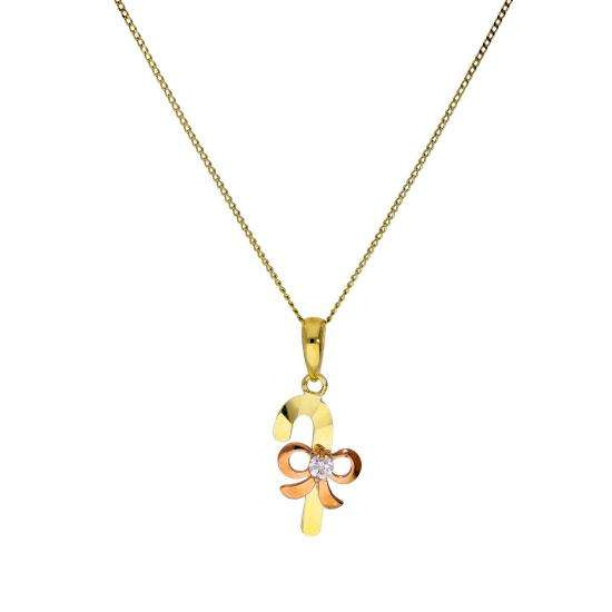 Mixed Gold & Clear CZ Crystal Wrapped Candy Cane Necklace 16-20 Inches