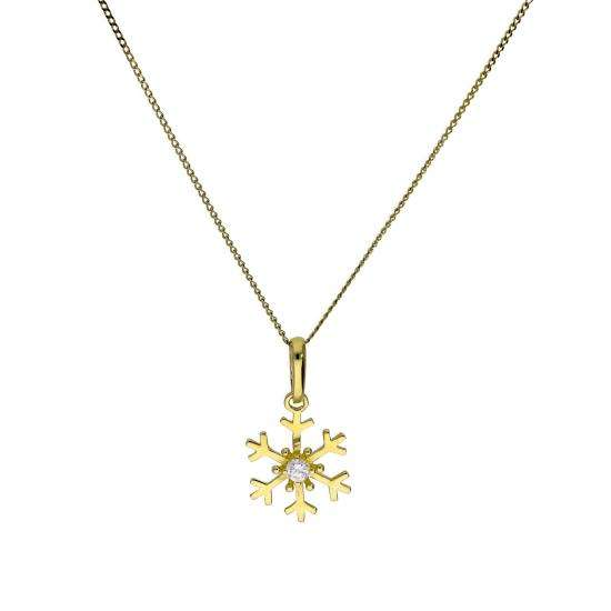 9ct Gold & Clear CZ Crystal Snowflake Pendant Necklace 16 - 20 Inches