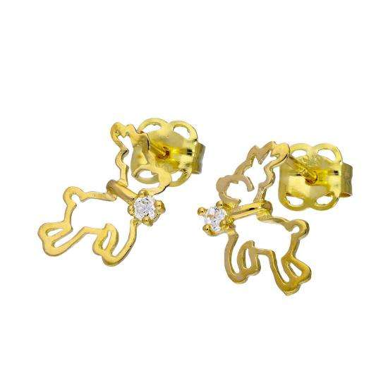 9ct Gold & Clear CZ Crystal Flying Reindeer Outline Stud Earrings
