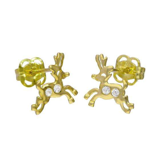 9ct Gold & Clear CZ Crystal Running Reindeer Stud Earrings