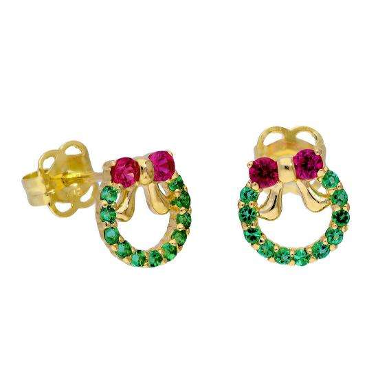 9ct Gold Ruby CZ & Emerald CZ Colourful Christmas Wreath Stud Earrings