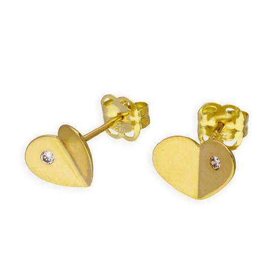 9ct Gold & Clear CZ Crystal Folded Heart Stud Earrings