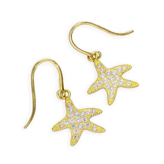 9ct Gold & Clear CZ Crystal Starfish Drop Dangle Earrings