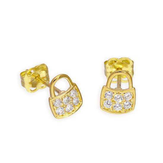 9ct Gold & Clear CZ Crystal Handbag Stud Earrings
