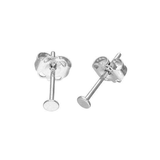 9ct White Gold 2mm Flat Circle Stud Earrings