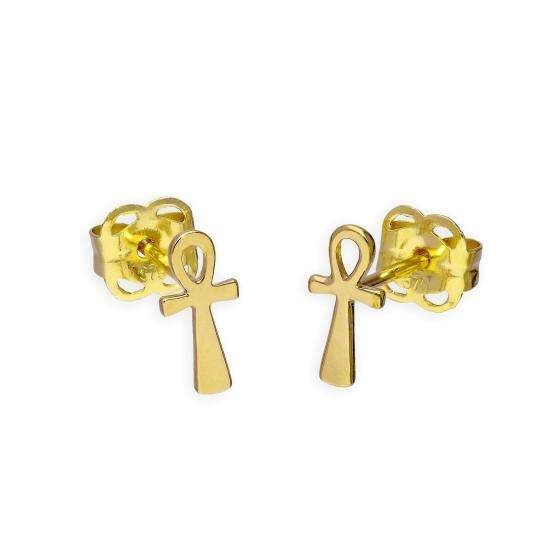 9ct Gold Ankh Stud Earrings