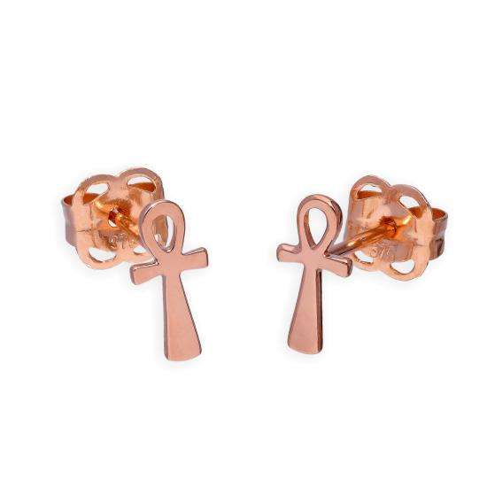 9ct Rose Gold Ankh Stud Earrings