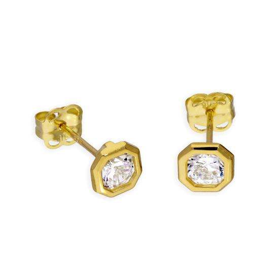 9ct Gold & Clear CZ Crystal Octagon Stud Earrings