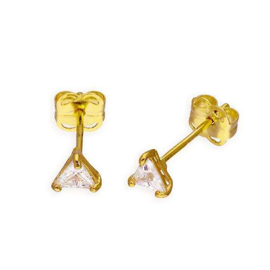 9ct Gold & Clear CZ Crystal Triangle Stud Earrings