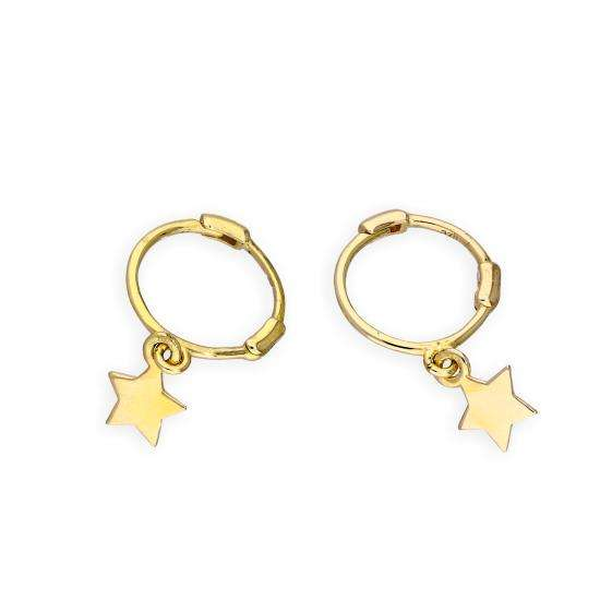 9ct Gold Star Hoop Earrings