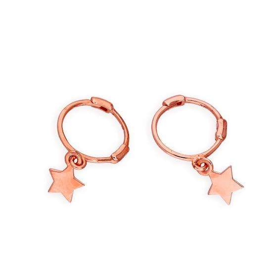 9ct Rose Gold Star Hoop Earrings