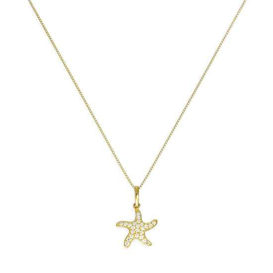 9ct Gold & Clear CZ Crystal Starfish Pendant Necklace 16 - 20 Inches