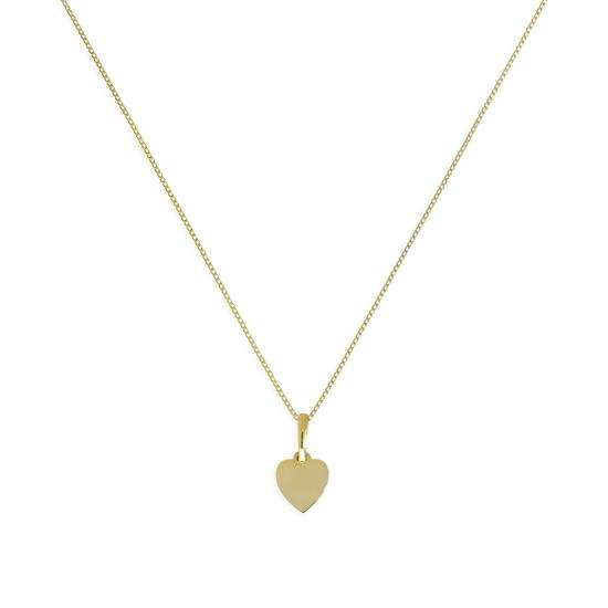 9ct Gold Small Engravable Heart Pendant Necklace 16 - 20 Inches