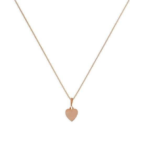 9ct Rose Gold Small Engravable Heart Pendant Necklace 16 - 18 Inches