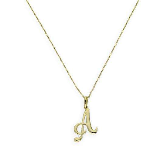 9ct Gold Fancy Calligraphy Script Letter A Pendant Necklace 16 - 20 Inches