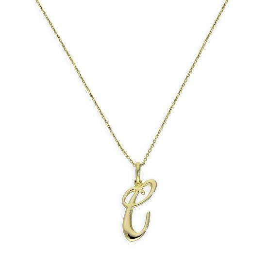 9ct Gold Fancy Calligraphy Script Letter C Pendant Necklace 16 - 20 Inches