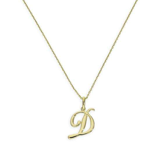 9ct Gold Fancy Calligraphy Script Letter D Pendant Necklace 16 - 20 Inches