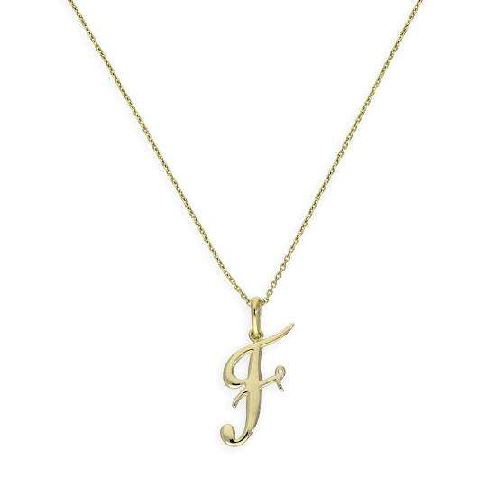 9ct Gold Fancy Calligraphy Script Letter F Pendant Necklace 16 - 20 Inches