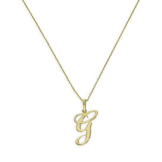 9ct Gold Fancy Calligraphy Script Letter G Pendant Necklace 16 - 20 Inches