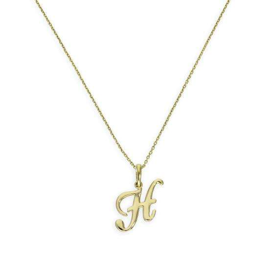 9ct Gold Fancy Calligraphy Script Letter H Pendant Necklace 16 - 20 Inches