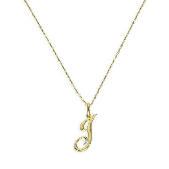 9ct Gold Fancy Calligraphy Script Letter J Pendant Necklace 16 - 20 Inches