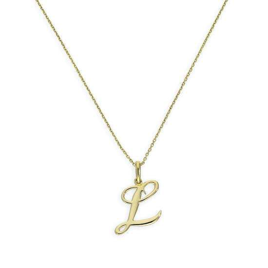 9ct Gold Fancy Calligraphy Script Letter L Pendant Necklace 16 - 20 Inches