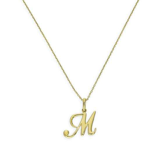 9ct Gold Fancy Calligraphy Script Letter M Pendant Necklace 16 - 20 Inches