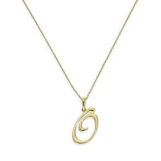 9ct Gold Fancy Calligraphy Script Letter O Pendant Necklace 16 - 20 Inches