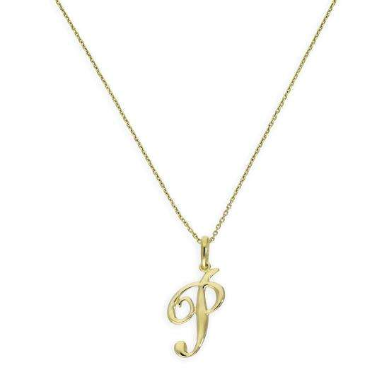 9ct Gold Fancy Calligraphy Script Letter P Pendant Necklace 16 - 20 Inches