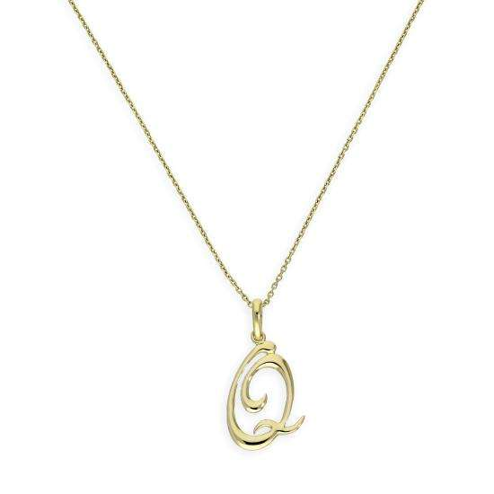 9ct Gold Fancy Calligraphy Script Letter Q Pendant Necklace 16 - 20 Inches