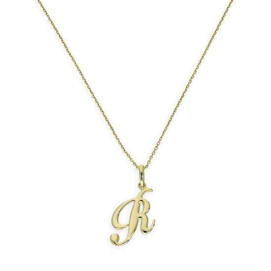 9ct Gold Fancy Calligraphy Script Letter R Pendant Necklace 16 - 20 Inches