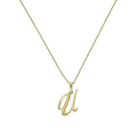 9ct Gold Fancy Calligraphy Script Letter U Pendant Necklace 16 - 20 Inches