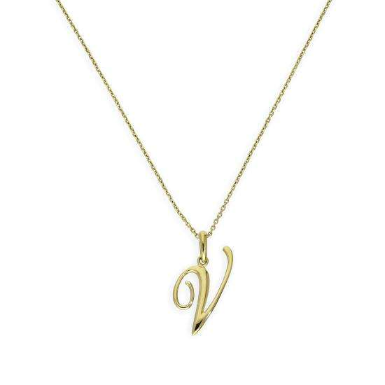 9ct Gold Fancy Calligraphy Script Letter V Pendant Necklace 16 - 20 Inches