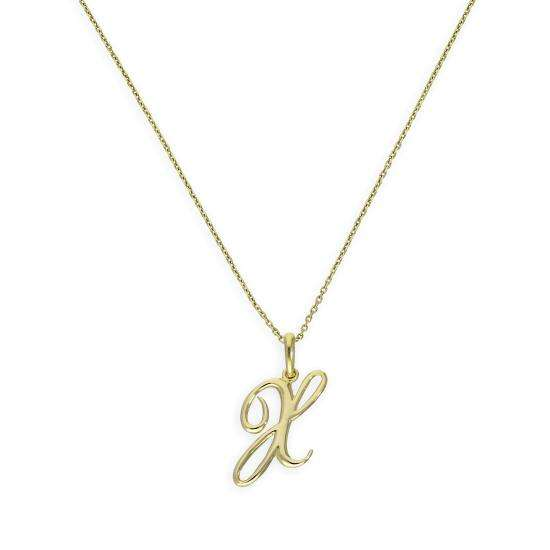 9ct Gold Fancy Calligraphy Script Letter X Pendant Necklace 16 - 20 Inches