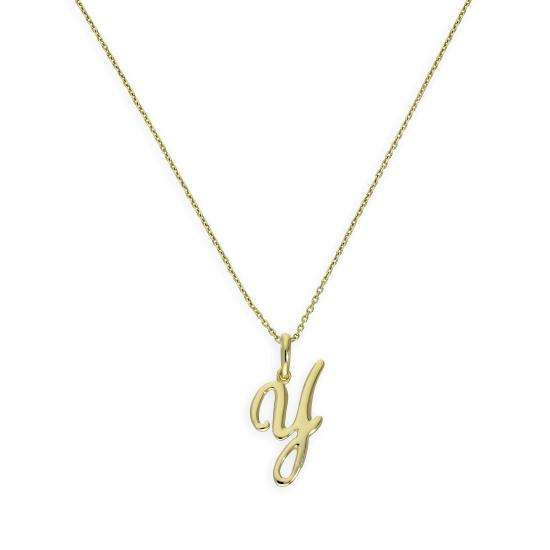 9ct Gold Fancy Calligraphy Script Letter Y Pendant Necklace 16 - 20 Inches