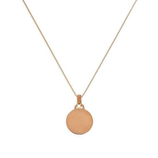 9ct Rose Gold Small Engravable Circle Pendant Necklace 16 - 18 Inches