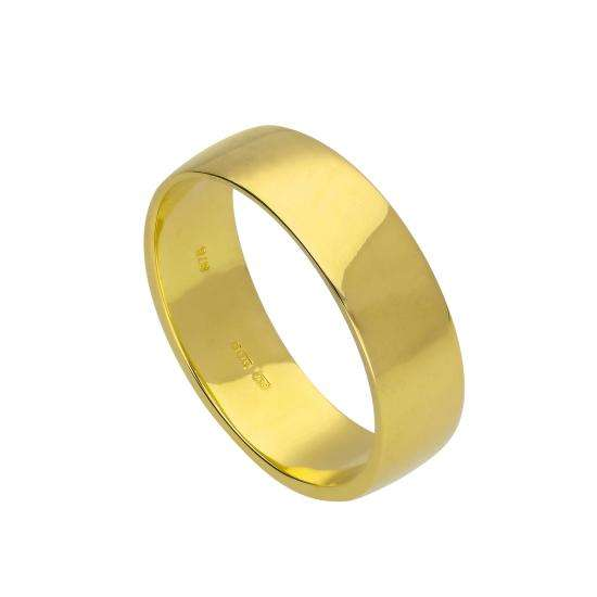 9ct Gold Engravable 6mm Wedding Band Ring Size I - U