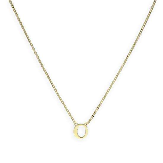 9ct Gold Letter O Necklace w 18 Inch Chain