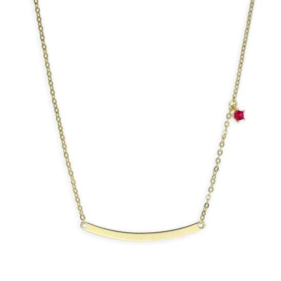 9ct Gold 18 Inch Chain w Curved Bar & Ruby CZ Crystal