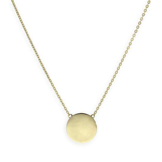 9ct Gold Engravable Round Pendant w 18 Inch Chain