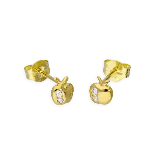 9ct Gold & Clear CZ Crystal Apple Stud Earrings