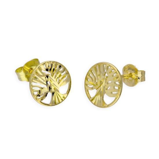 9ct Gold Cut Out Tree of Life Stud Earrings
