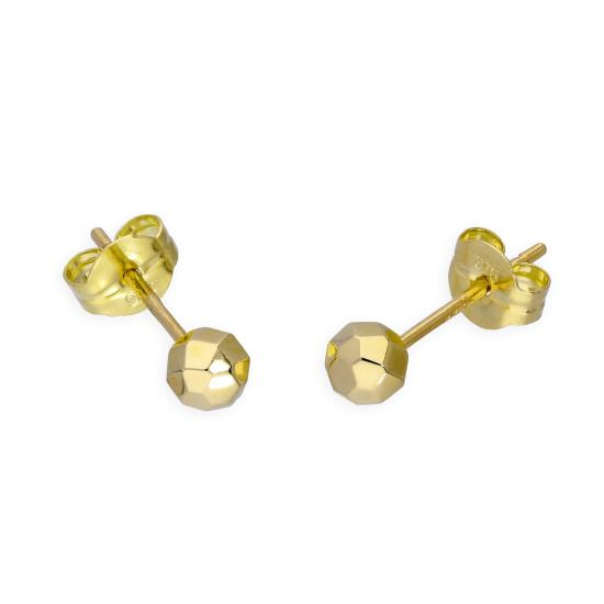 9ct Gold 3mm Diamond Cut Ball Stud Earrings