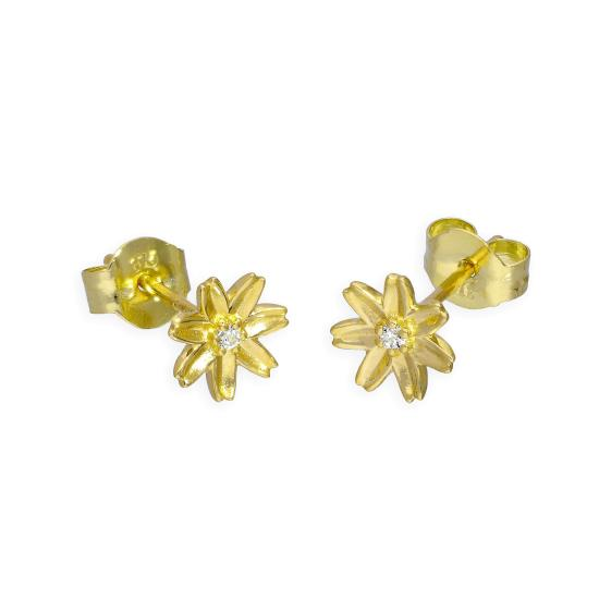 9ct Gold & Clear CZ Crystal Flower Stud Earrings