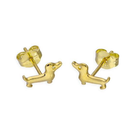 9ct Gold Sausage Dog Stud Earrings